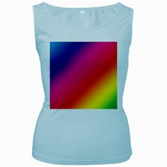 Spectrum Background Rainbow Color Women s Baby Blue Tank Top