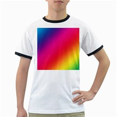 Spectrum Background Rainbow Color Ringer T Shirts