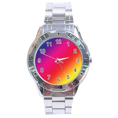 Spectrum Background Rainbow Color Stainless Steel Analogue Watch
