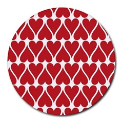 Hearts Pattern Seamless Red Love Round Mousepads