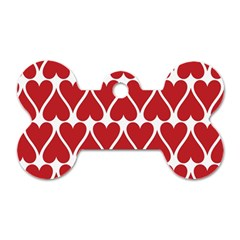 Hearts Pattern Seamless Red Love Dog Tag Bone (two Sides)