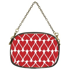 Hearts Pattern Seamless Red Love Chain Purses (two Sides)