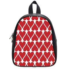 Hearts Pattern Seamless Red Love School Bag (small)