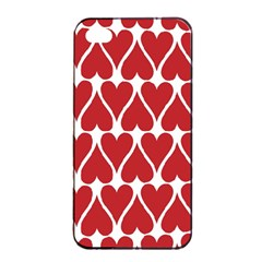 Hearts Pattern Seamless Red Love Apple Iphone 4/4s Seamless Case (black)