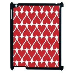 Hearts Pattern Seamless Red Love Apple Ipad 2 Case (black)