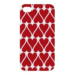 Hearts Pattern Seamless Red Love Apple Iphone 4/4s Premium Hardshell Case