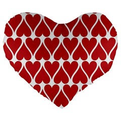 Hearts Pattern Seamless Red Love Large 19  Premium Heart Shape Cushions