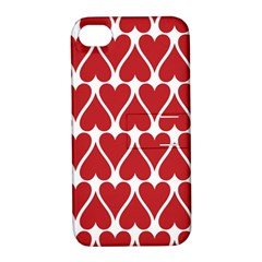 Hearts Pattern Seamless Red Love Apple Iphone 4/4s Hardshell Case With Stand