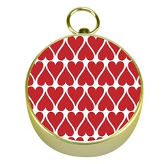 Hearts Pattern Seamless Red Love Gold Compasses