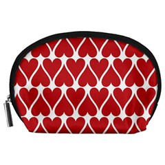 Hearts Pattern Seamless Red Love Accessory Pouches (large)
