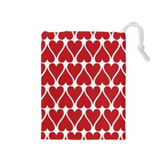 Hearts Pattern Seamless Red Love Drawstring Pouches (medium)