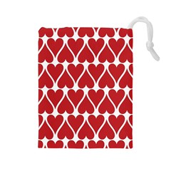 Hearts Pattern Seamless Red Love Drawstring Pouches (large)