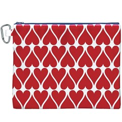 Hearts Pattern Seamless Red Love Canvas Cosmetic Bag (xxxl)