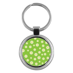 Daisy Flowers Floral Wallpaper Key Chains (round)