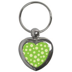 Daisy Flowers Floral Wallpaper Key Chains (heart)