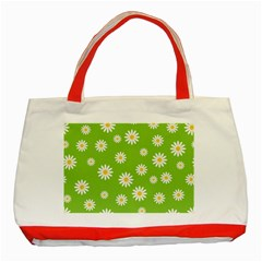 Daisy Flowers Floral Wallpaper Classic Tote Bag (red)