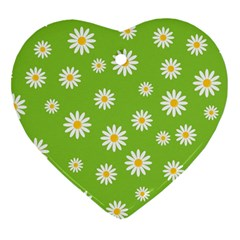 Daisy Flowers Floral Wallpaper Heart Ornament (two Sides)