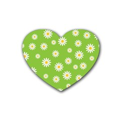 Daisy Flowers Floral Wallpaper Heart Coaster (4 Pack)