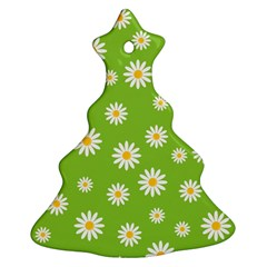 Daisy Flowers Floral Wallpaper Christmas Tree Ornament (two Sides)