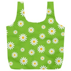 Daisy Flowers Floral Wallpaper Full Print Recycle Bags (l)