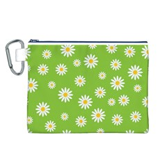 Daisy Flowers Floral Wallpaper Canvas Cosmetic Bag (l)