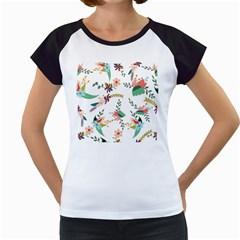 Floral Backdrop Pattern Flower Women s Cap Sleeve T