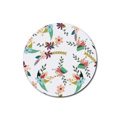 Floral Backdrop Pattern Flower Rubber Coaster (round)