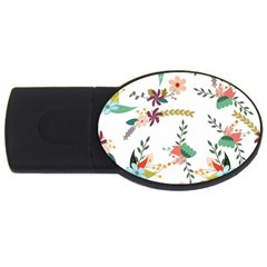 Floral Backdrop Pattern Flower Usb Flash Drive Oval (4 Gb)
