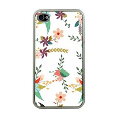 Floral Backdrop Pattern Flower Apple Iphone 4 Case (clear)