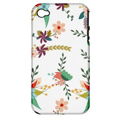 Floral Backdrop Pattern Flower Apple Iphone 4/4s Hardshell Case (pc+silicone)