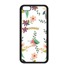 Floral Backdrop Pattern Flower Apple Iphone 5c Seamless Case (black)