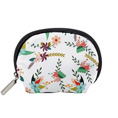 Floral Backdrop Pattern Flower Accessory Pouches (small)