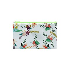 Floral Backdrop Pattern Flower Cosmetic Bag (xs)