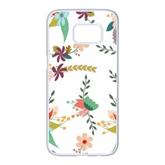 Floral Backdrop Pattern Flower Samsung Galaxy S7 Edge White Seamless Case