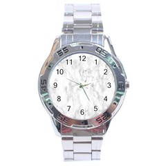 White Background Pattern Tile Stainless Steel Analogue Watch