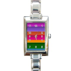 Stripes Striped Design Pattern Rectangle Italian Charm Watch