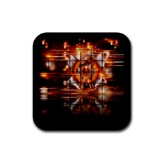 Butterfly Brown Puzzle Background Rubber Square Coaster (4 Pack)