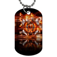 Butterfly Brown Puzzle Background Dog Tag (one Side)