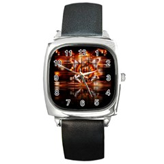 Butterfly Brown Puzzle Background Square Metal Watch