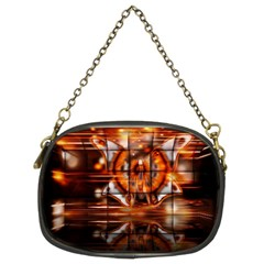 Butterfly Brown Puzzle Background Chain Purses (two Sides)