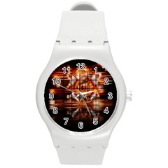 Butterfly Brown Puzzle Background Round Plastic Sport Watch (m)
