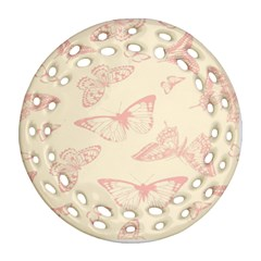 Butterfly Butterflies Vintage Round Filigree Ornament (two Sides)