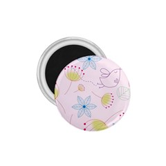 Floral Background Bird Drawing 1 75  Magnets