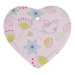 Floral Background Bird Drawing Ornament (heart)