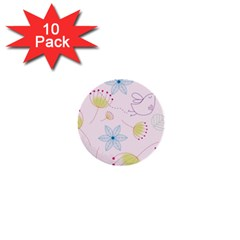 Floral Background Bird Drawing 1  Mini Buttons (10 Pack)