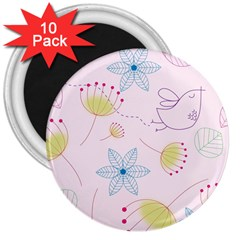 Floral Background Bird Drawing 3  Magnets (10 Pack)
