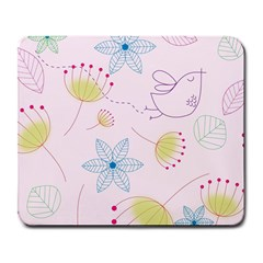 Floral Background Bird Drawing Large Mousepads