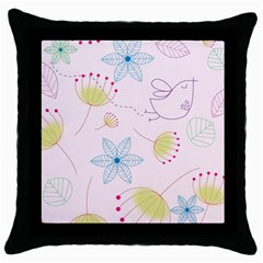 Floral Background Bird Drawing Throw Pillow Case (black)