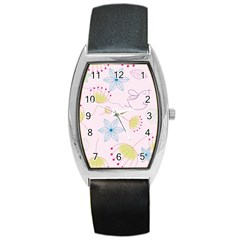 Floral Background Bird Drawing Barrel Style Metal Watch