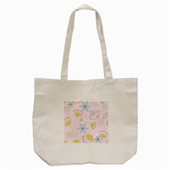 Floral Background Bird Drawing Tote Bag (cream)